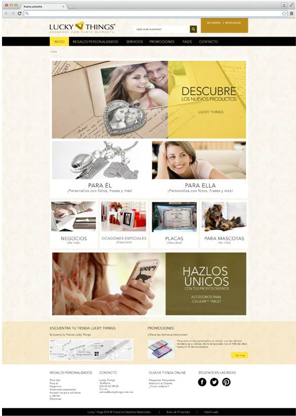 Diseño web Lucky Things